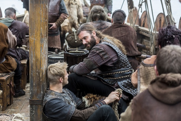 Bjorn (Alexander Ludwig) and Rollo (Clive Standen) bond on the boat