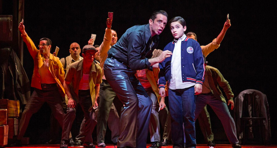 "Nick Cordero (Sonny) and Joshua Colley (Young Calogero), center, and the men of ""A Bronx Tale: The Musical"""